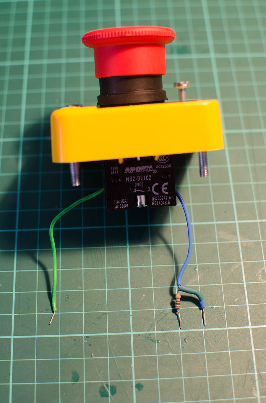 Stop Button with it's Wires and Resistor